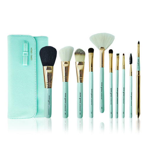Makeup Brush Set - Tiffany Blue ( 10 pcs )