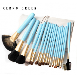 Professional Makeup Brush Set - Sky Blue (18pcs)
